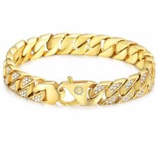 Miami Curb Cuban Mens Bracelet Chain Gold Plated Stainless Steel Hip Hop 12mm