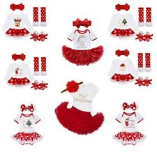 My First Christmas Santa Outfits Baby Girl Romper Fancy Tutu Dress Clothes Set