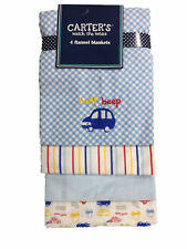 Carter's Baby Boys' Watch The Wear Flannel Blankets 4 Pack - Cars- Beep Beep