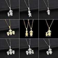 Unique Stainless Steel Single Mother Kids Pendant Chain Necklace Jewelry Adroit