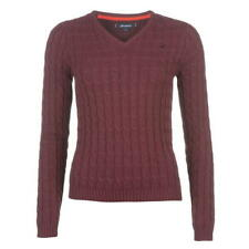 Womens Burgundy Kangol V Neck Cable Knit Jumper Sweater Sizes 8-16
