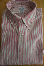 NWOT Brooks Brothers Red University Stripe Oxford Button Down Ex Slim MSRP $95