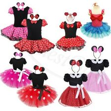 Kids Girls Polka Dots Costume Ballet Tutu Fancy Dress Up Cosplay Outfit + Ears