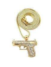 Gold Crystal Gun Pistol Pendant Mens Necklace Jewelry Box Ball Rope Chain