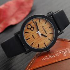 Simulation Wooden Color Leather Strap Wristwatch