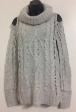 NEW NEW LOOK Size 8-16 Grey Collar Neck Cold Shoulder Ribbed Knit Jumper