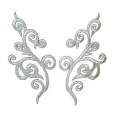Silver Applique Pair Iron On Embroidery #63 Aust Seller Tutu Stage  Costume Trim
