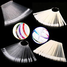50pcs False Display Nail Art Fan Wheel Polish Practice Tip Sticks Nail Art H*BM