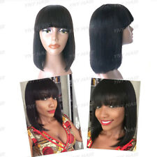 Glueless Bob With Bang Wig Brazilian Human Hair Yaki Human Hair Machine Made Wig