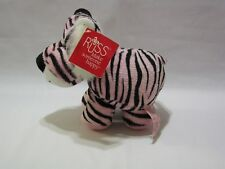"Russ Tiger Plush Stuffed Animal Toy Pink Black Stripes 8"" Soft  Silver Heart"