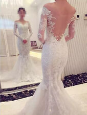 Sexy Wedding Dresses Bridal Mermaid Custom Long Sleeve Sweetheart Top Lace New