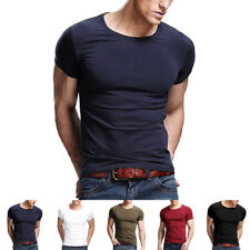 2017 New Men's Sexy Casual Slim fit Short Sleeve Crew Neck T-shirt Tops 5 Colors