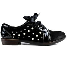 Lily Pearl Studded Faux Suede Patent Ribbon Lace Womens Brogues UK 3 - UK 8