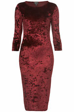 Topshop Crushed Velvet Midi Bodycon Pencil Wiggle Dress - Wine Red