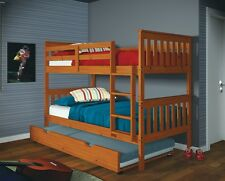 Twin over Twin Mission Bunk Bed - Honey