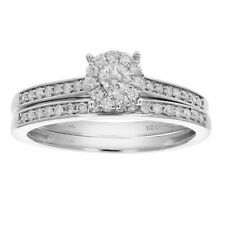 1/2 CT Diamond Prong Set Channel Wedding Engagement Ring Set 14K Gold