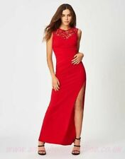 New Lipsy Red Lace Sequin Side Thigh Split Maxi Dress Sz UK 8