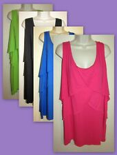 Womans Plus 5X Tiered Layered Cotton Blend Stretchy Knit Tank New in Package