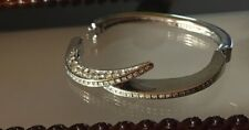 BEAUTIFUL VINTAGE  SPARELY PAVE SILVER TONE HINGED BANGLE BRACELET  CRYSTAL