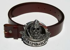 Biker Sons of Anarchy Removable Belt Buckle & Solid Classic Brown Leather Belt
