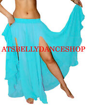 TURQUOISE Chiffon 2 Slit Full Circle Skirt Belly Dance Gypsy Club Tribal S~3XL
