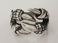 Sovats Mens Vintage Biker Sterling Silver Black Dragon Claw Ring, Size 5-12 New