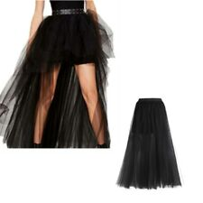 Black High Low Sexy Women Tiered Tulle Skirts Wedding Party Tutu Princess Skirt