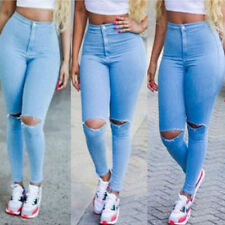 Women Skinny Ripped Pants Mid Waist Stretch Leggings Jeans Pencil Trousers