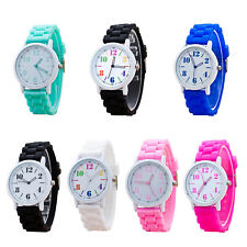 5X(SR Womens Watches Quartz Jelly Silicone Analog Sports New Ladies Wrist Watch