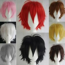Women Men Cosplay Party Anime Wig Short Black Brown Blue White Orange Full Wig F