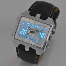 Mens Rectangle LCD Digital Date Day Alarm Leather Band Sport Quartz Watch Casual