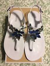 Michael Kors Lola Jelly Thong Sandals (Color: Optic White/Silver) Size: 7