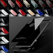 Shockproof Metal Aluminum Bumper With Tempered Glass Back Case Cover fr iPhone X