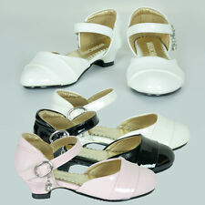 New Girls Formal Wedding Flowergirl Shoe Party White Ivory Pink Black AU Sz 8-3
