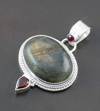 Natural Labradorite Cabochon Gemstone 925 Sterling Silver Pendant With Loop