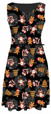 Ladies Christmas Xmas Belted Sleeveless Flared Skater Dress Party Top