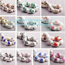 Charms 10/20pcs Flowers Pattern Ceramic Porcelain Loose Spacer Colorized Beads