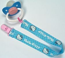 Adult  Hello Kitty  pacifier & clip blu/pink/wht