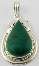 Natural Malachite 20x32mm Pear Gemstone 925 Sterling Silver Pendant With Loop