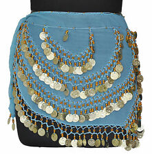 Belly Dancing Hip Skirt Scarf Wrap Gypse Costume Bra Turquoise / Golden Coins CH