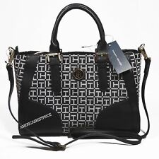 TOMMY HILFIGER NEW WOMEN'S SIGNATURE JACQUARD HANDBAG PURSE NWT BLACK & WHITE