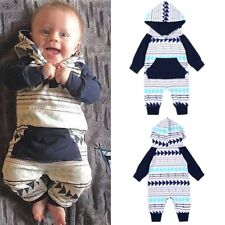 Newborn Baby clothes Geometric hooded set Infant Baby Boys Girls Romper Jumpsuit