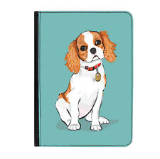 """King Charles Spaniel Dog Universal 9-10.1"""" Leather Flip Case Cover"""