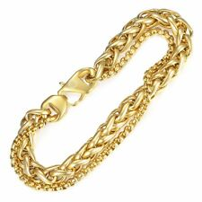 Curb Cuban Box Wheat Bracelet for Men Gold Silver Stainless Steel Double Chain