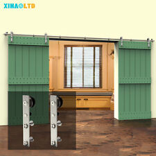CCJH Stainless Steel Sliding Barn Door Hardware Closet System Kit For Wood Door