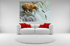 Grizzly Bear Canvas Giclee Catching Picture Print Unframed Wall Art Home Decor