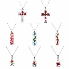 Fashion Transparent Cross Waterdrop Glass Dried Flowers Necklace Pendant Jewelry