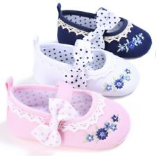 Newborn Toddler Kids Baby Girl Princess Bow-knot Embroidery Crib Shoes 0-18 M