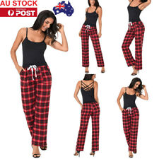 AU Women Plaid Check Casual Wide Leg Pants Loose Trousers Oversize Cropped Pants
