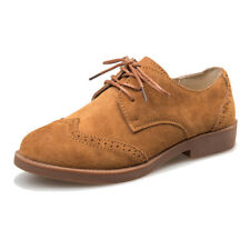 Women's Suede Leather Oxfords Brogue Shoes